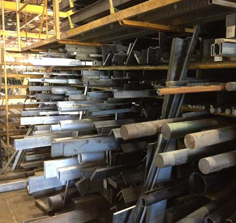 Steel inventory on a rack
