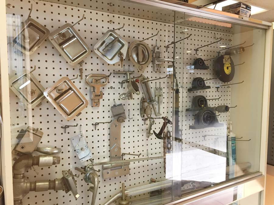 Accessories, handles, ball bearings, hinges